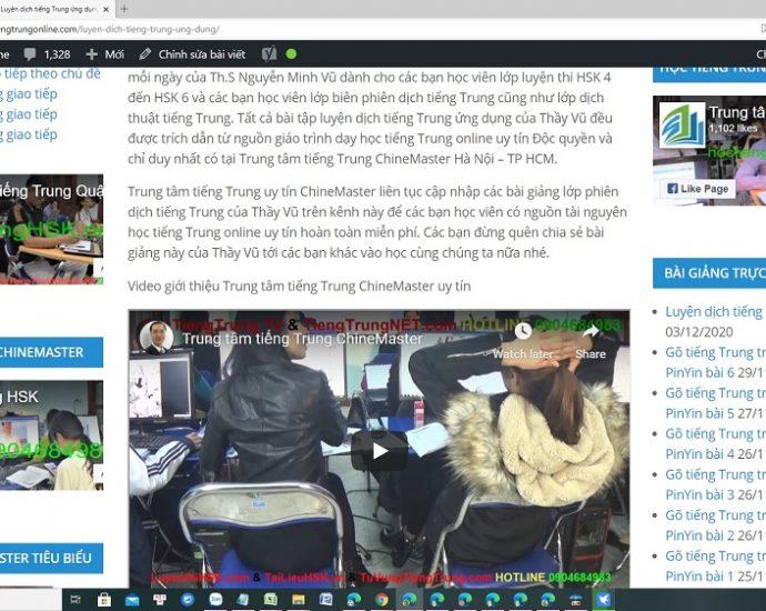 Giáo trình luyện dịch tiếng Trung ứng dụng Bài 1 - Bài tập luyện dịch tiếng Trung ứng dụng thực tế Thầy Vũ ChineMaster