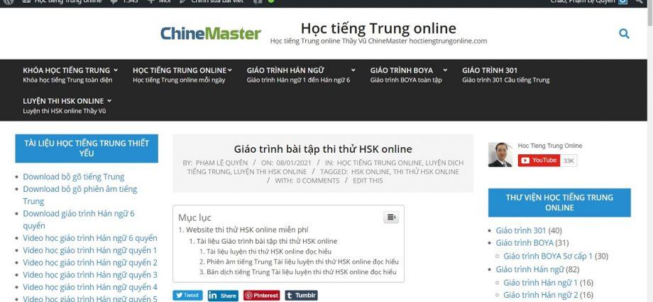 Giáo trình bài tập thi thử HSK online - Website thi thử HSK online - Luyện thi HSK online uy tín Thầy Vũ ChineMaster